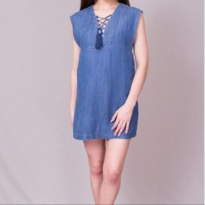 Knot Sisters Dress Lace Up Denim Thalia